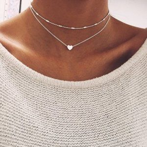 Urban Outfitters Jewelry - Layered Heart Choker Necklace (Silver)